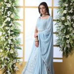 Sky Blue Georgette Embroiered Work with Dupatta and LehengaCholi Set (1)