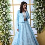 Sky Blue Lehenga Choli With Unstitched Koti Product (1)