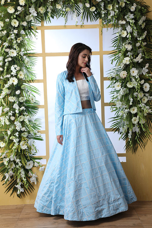 Sky Blue Lehenga Choli With Unstitched Koti Product (2)