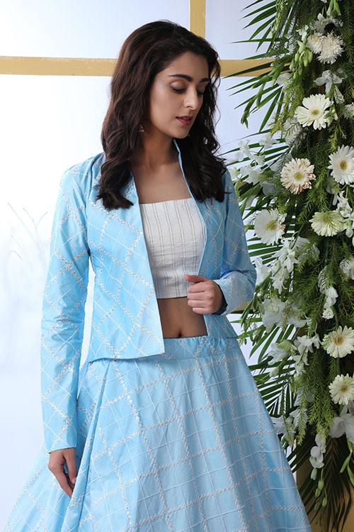 Sky Blue Lehenga Choli With Unstitched Koti Product (3)