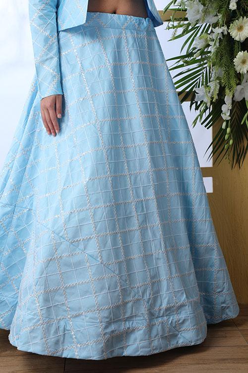 Sky Blue Lehenga Choli With Unstitched Koti Product (4)