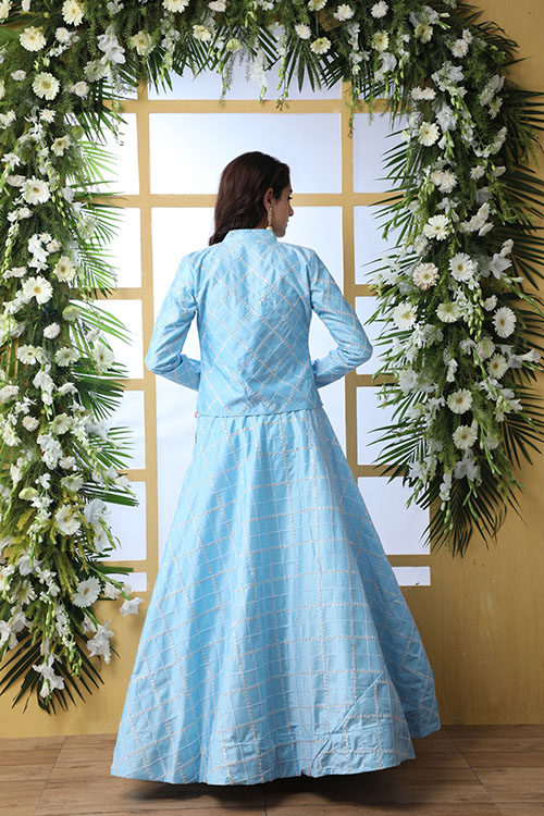 Sky Blue Lehenga Choli With Unstitched Koti Product (5)