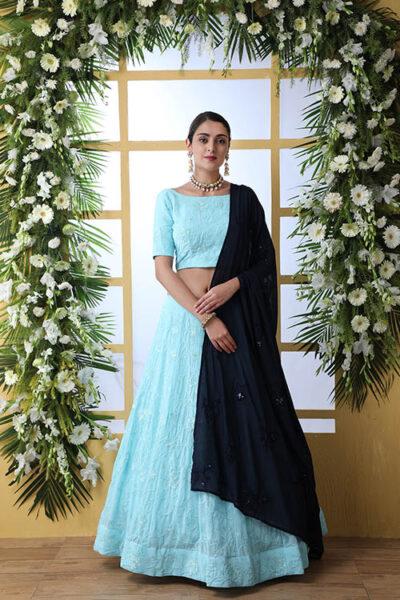 Sky Blue Lehnega Choli With Contrast Beautiful Navy Blue Dupatta Set