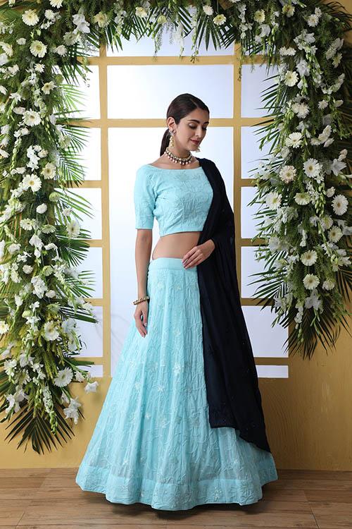 Sky Blue Lehnega Choli With Contrast Beautiful Navy Blue Dupatta Set (2)