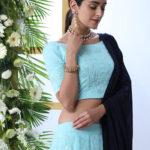 Sky Blue Lehnega Choli With Contrast Beautiful Navy Blue Dupatta Set (1)