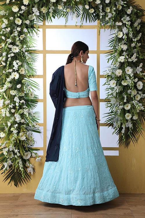 Sky Blue Lehnega Choli With Contrast Beautiful Navy Blue Dupatta Set (5)