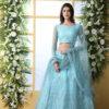 Sky Blue Thread Embroidered With Net Fabric Lehenga Choli