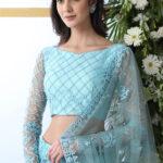 Sky Blue Thread Embroidered With Net Fabric Lehenga Choli (1)