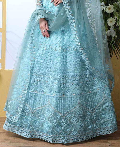 Sky Blue Thread Embroidered With Net Fabric Lehenga Choli (3)