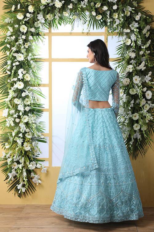Sky Blue Thread Embroidered With Net Fabric Lehenga Choli (5)