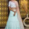 Sky Jacquard Weaving Semi Stitched Lehenga Choli