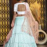 Sky Jacquard Weaving Semi Stitched Lehenga Choli (1)