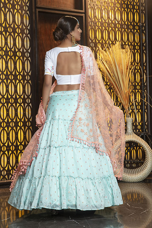 Sky Jacquard Weaving Semi Stitched Lehenga Choli (3)