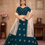 Teal Blue Zari with Sequance Embroidered Lehenga Choli (1)