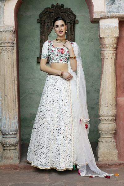 White Color Fancy Sequince Embroidered Lehenga Choli