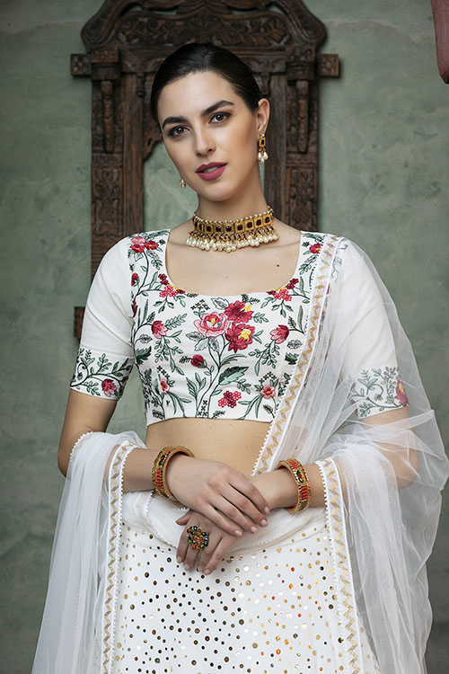 White Color Fancy Sequince Embroidered Lehenga Choli (2)