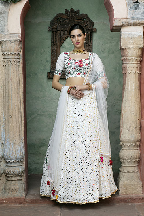 White Color Fancy Sequince Embroidered Lehenga Choli (3)