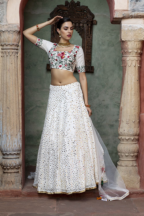 White Color Fancy Sequince Embroidered Lehenga Choli (4)
