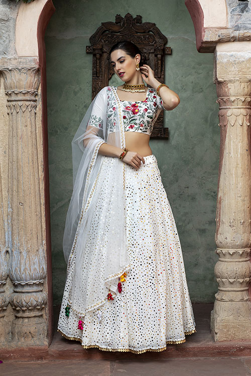 White Color Fancy Sequince Embroidered Lehenga Choli (5)