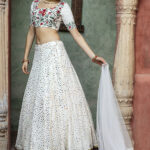 White Color Fancy Sequince Embroidered Lehenga Choli (1)