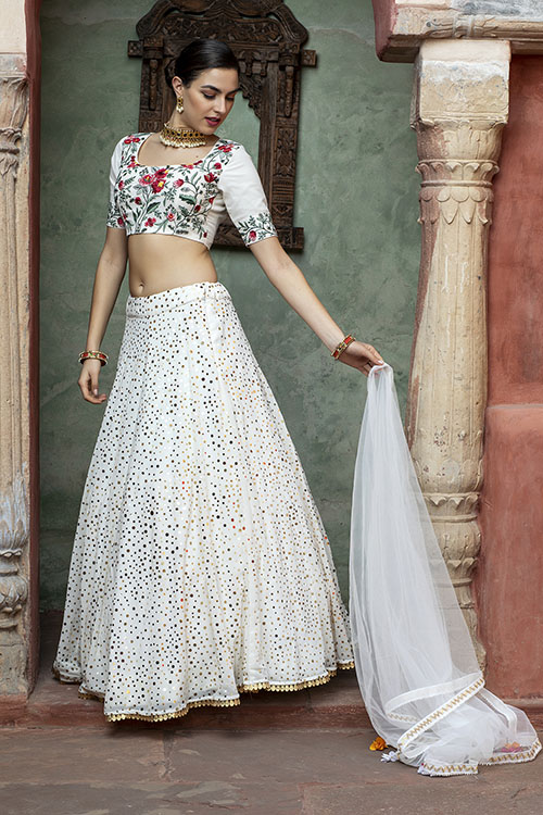 White Color Fancy Sequince Embroidered Lehenga Choli (6)