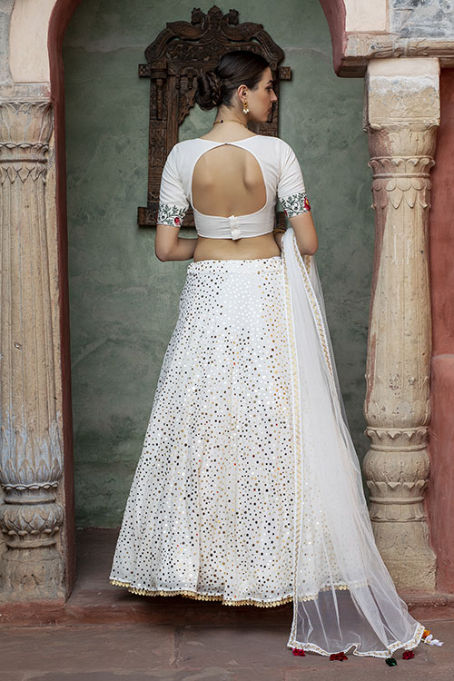 White Color Fancy Sequince Embroidered Lehenga Choli (7)
