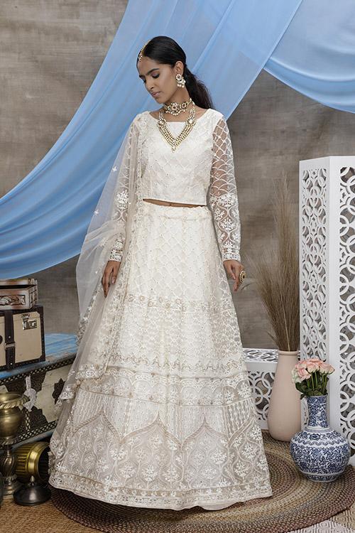 White Color Online Buy Designer Lehenga Choil Collection (3)