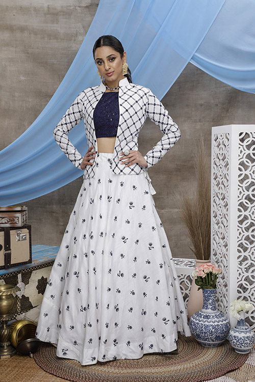 White Embroidered Lehenga Choli With Fancy Koti (1)