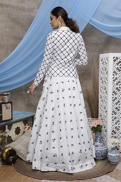 White Embroidered Lehenga Choli With Fancy Koti (4)