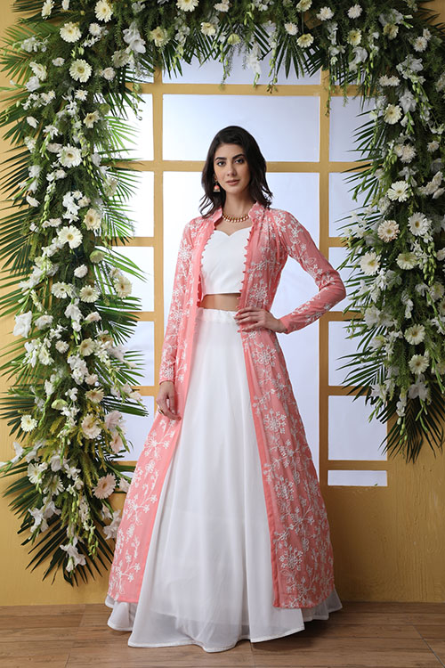 White Exlusive New Stylish Koti Style Lehenga Choli Collection (6)