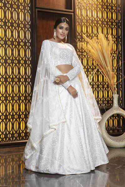 White Foil Printed Lehenga Choli Collection
