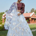 White Metailc Foil Prined Work Lehenga Choli With Dupatta (1)