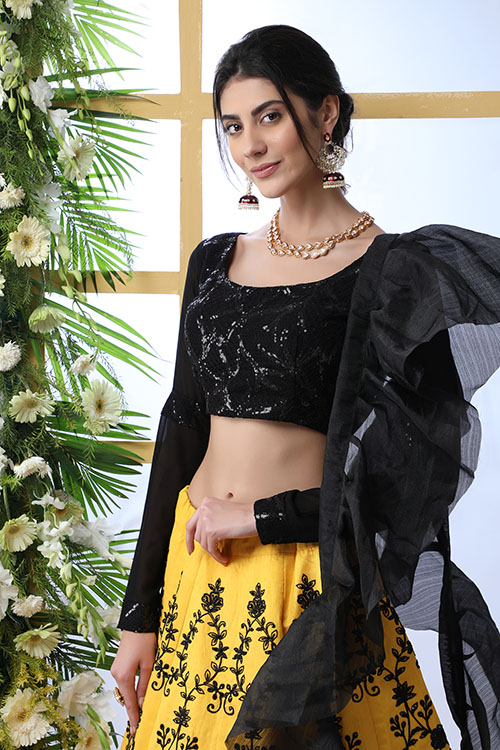 Yellow Color Embroidered Lehenga Choli With Fancy Dupatta (2)