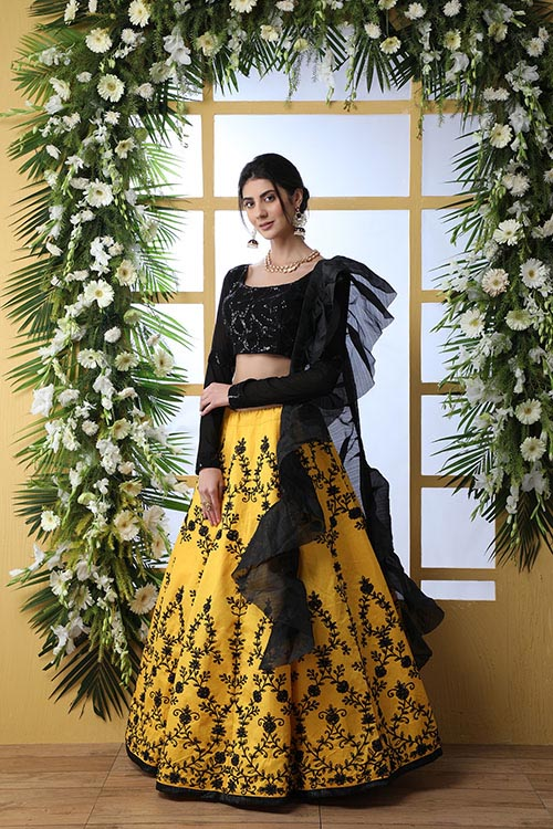 Yellow Color Embroidered Lehenga Choli With Fancy Dupatta (4)