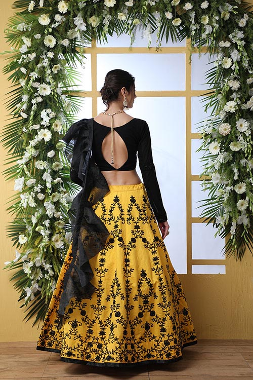 Yellow Color Embroidered Lehenga Choli With Fancy Dupatta (5)