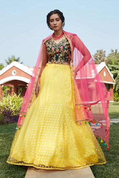 Yellow Green Color Lehenga Choli with Contrast Pink Dupatta