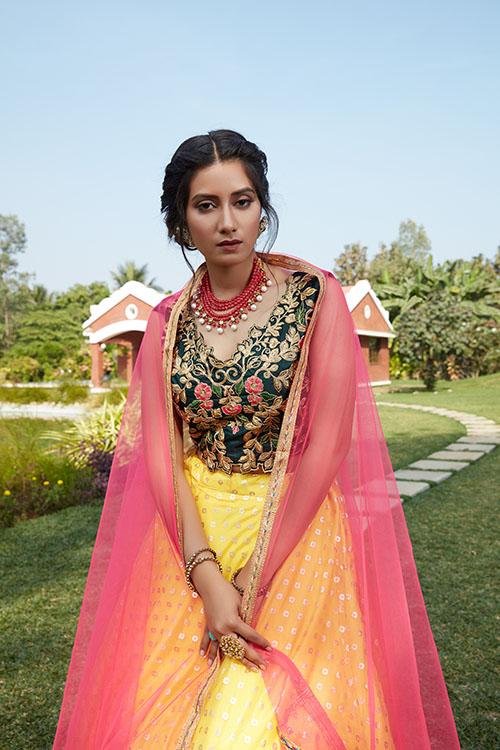 Yellow Green Color Lehenga Choli with Contrast Pink Dupatta (2)