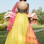 Yellow Green Color Lehenga Choli with Contrast Pink Dupatta (1)