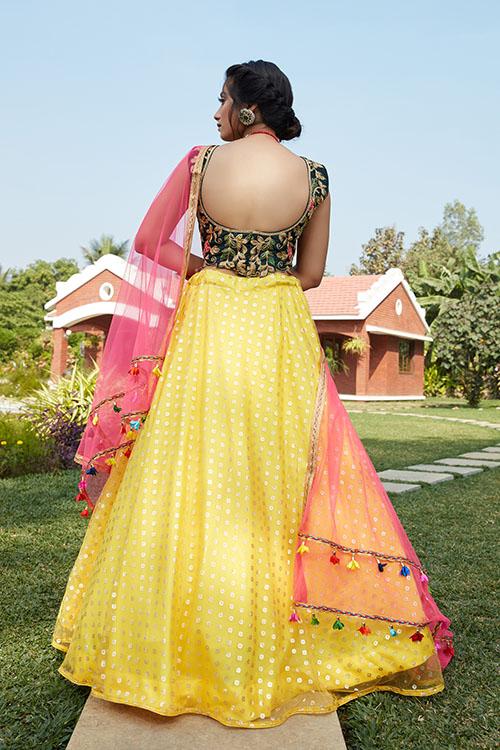 Yellow Green Color Lehenga Choli with Contrast Pink Dupatta (4)