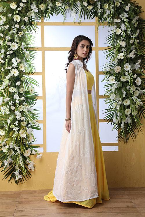 Yellow Lehenga Choli With White Koti Style Product (3)