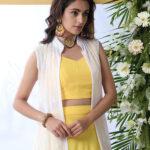 Yellow Lehenga Choli With White Koti Style Product (1)