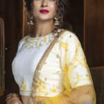 Yellow Lehenga with Contrast Color Choli With Dupatta (5)