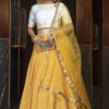 Yellow Lehenga with Contrast Color Choli With Dupatta
