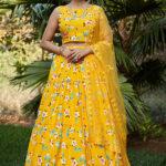Yellow Printed Work Semi Stitched Lehenga Choli (1)