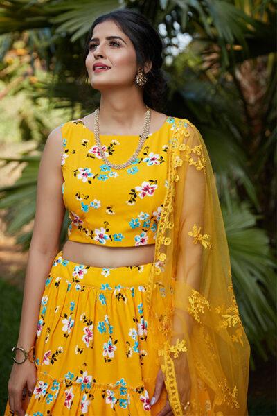 Yellow Printed Work Semi Stitched Lehenga Choli
