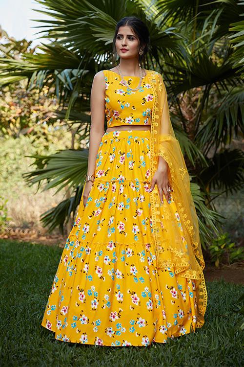 Yellow Printed Work Semi Stitched Lehenga Choli (3)
