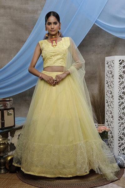 Yellow Thread Embroiderd Designer Lehnega Choli Collection