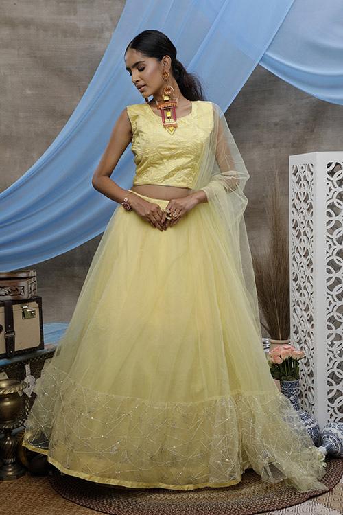 Yellow Thread Embroiderd Designer Lehnega Choli Collection (3)