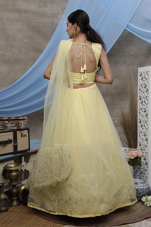 Yellow Thread Embroiderd Designer Lehnega Choli Collection (4)