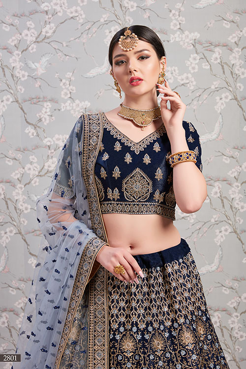 Navy Blue Exclusive Designer Lehenga Choli Collection (2)